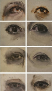 Eyes, Oil on panel, 3X3in each 2015