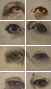Eyes, Oil on panel, 3X3in each 2015