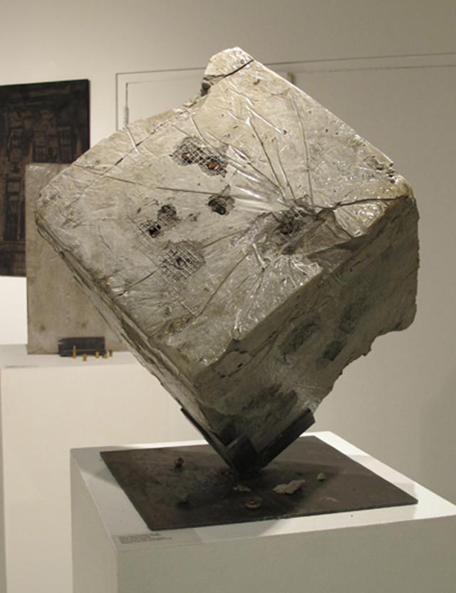 """Cube No.1, Concrete & bullets, 18""""X18""""X18"""", 2014"""