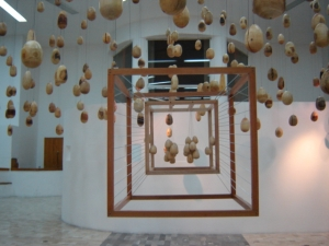 "Títle: ""Movimiento Suspendido"" Medium: Wood (pirul, pine, ash, poplar, jacaranda) Size: 8 meters x 8 meters x 6 meters (26.24 ft x 26.24 ft x 19.68 ft) Year: 2006"