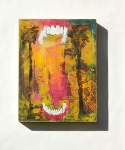 """Teeth Palm Trees 8"""" x 10"""" Oil on Panel"""
