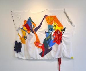 Untitled 2015, 2015 Fabrics, threads, acrylic paint, vinyl, dura-lar 63 x 64.5 in