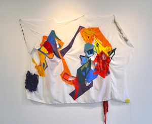 Untitled 2015, 2015 Fabrics, threads, acrylic paint, vinyl, dura-lar 63 x 64.5 in