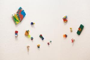 Untitled (Sequence), 2015 Wood, plexiglass, acrylic paint, threads, vinyl, fabrics Dimensions variable