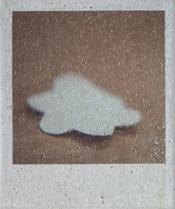 Floor with glueless sticker, Photography on handmade concrete block, 18x15 cm., 2015