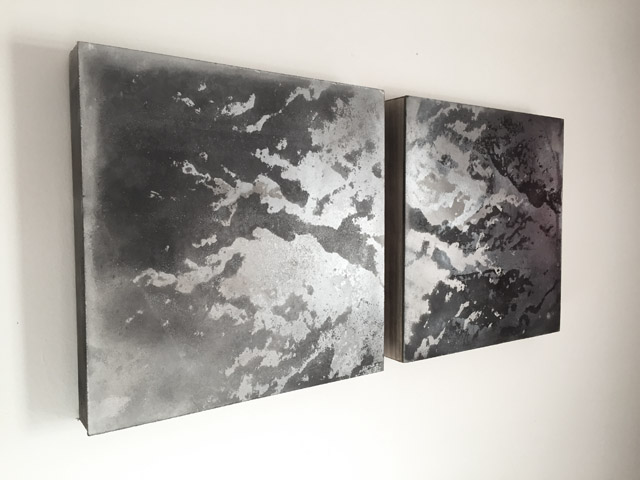 "tidal cloud [i] and tidal cloud [ii] , each is 12"" by 12"" , mixed media screenprint on panel, 2012"