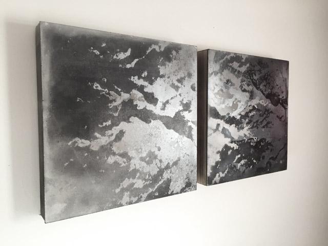 "tidal cloud [i] and tidal cloud [ii] , each is 12"" by 12"" , mixed media screenprint on panel, 2012"