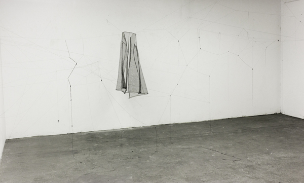 Up & Over, Tulle, linen tape, and thread, Installation, 2015