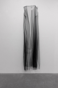 "Black Slip, Tulle and thread, 80"" x 22"", 2015"