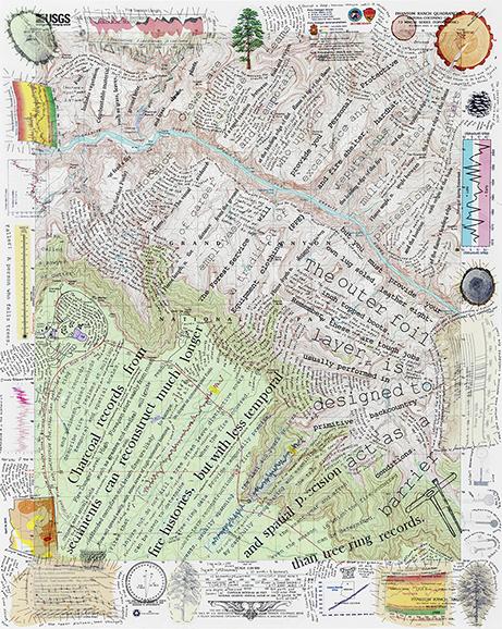 "Phantom Ranch Quadrangle, Mixed media on topographic map, 27""H x 22""W, 2015"