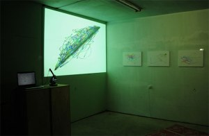 Unborn_children_drawings_microscope_projection_laptop_sperm_2x4m_2013